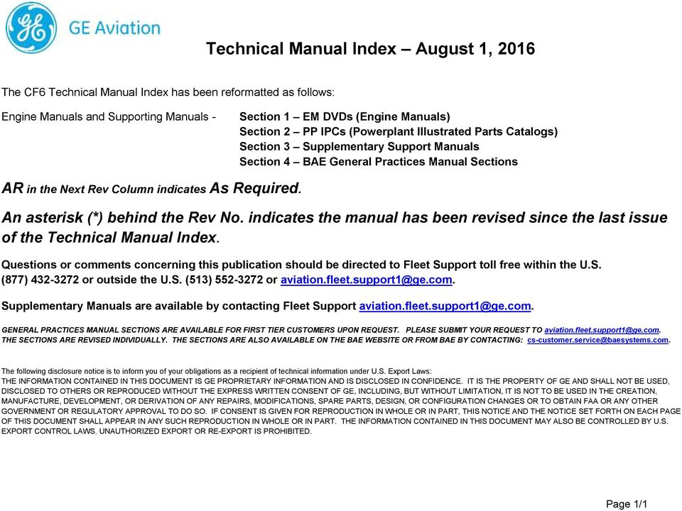 Technical Manual Index August 1, PDF