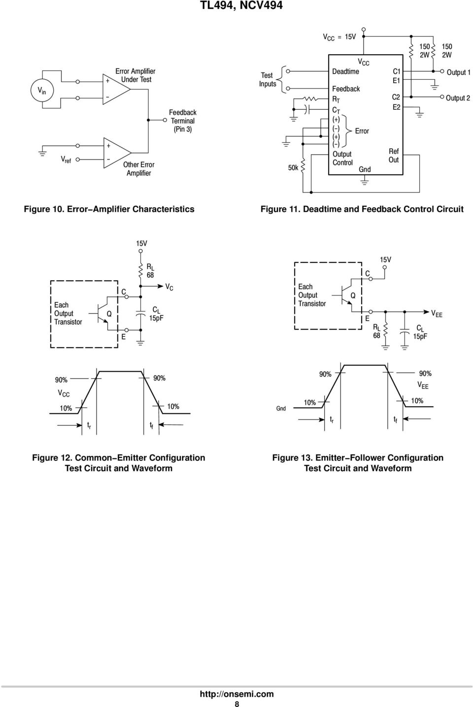 Tl494 Ncv494 Switchmode Pulse Width Modulation Control Circuit Pdf The Time Delay With A Fet Controlcircuit Diagram Deadtime And Feedback 5v Each Transistor C E R L 68 5pf V