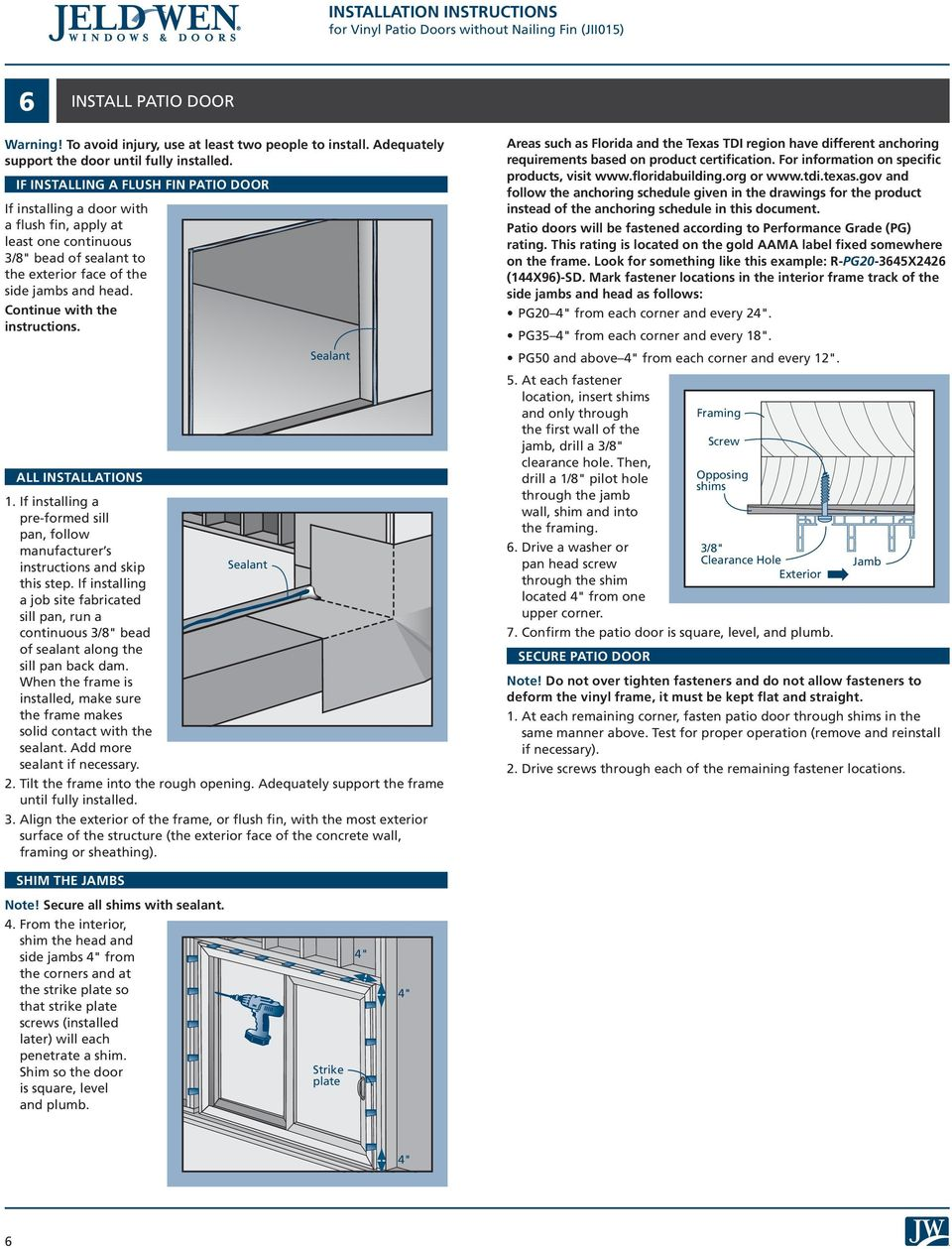 Installation Instructions For Vinyl Patio Doors Without Nailing Fin