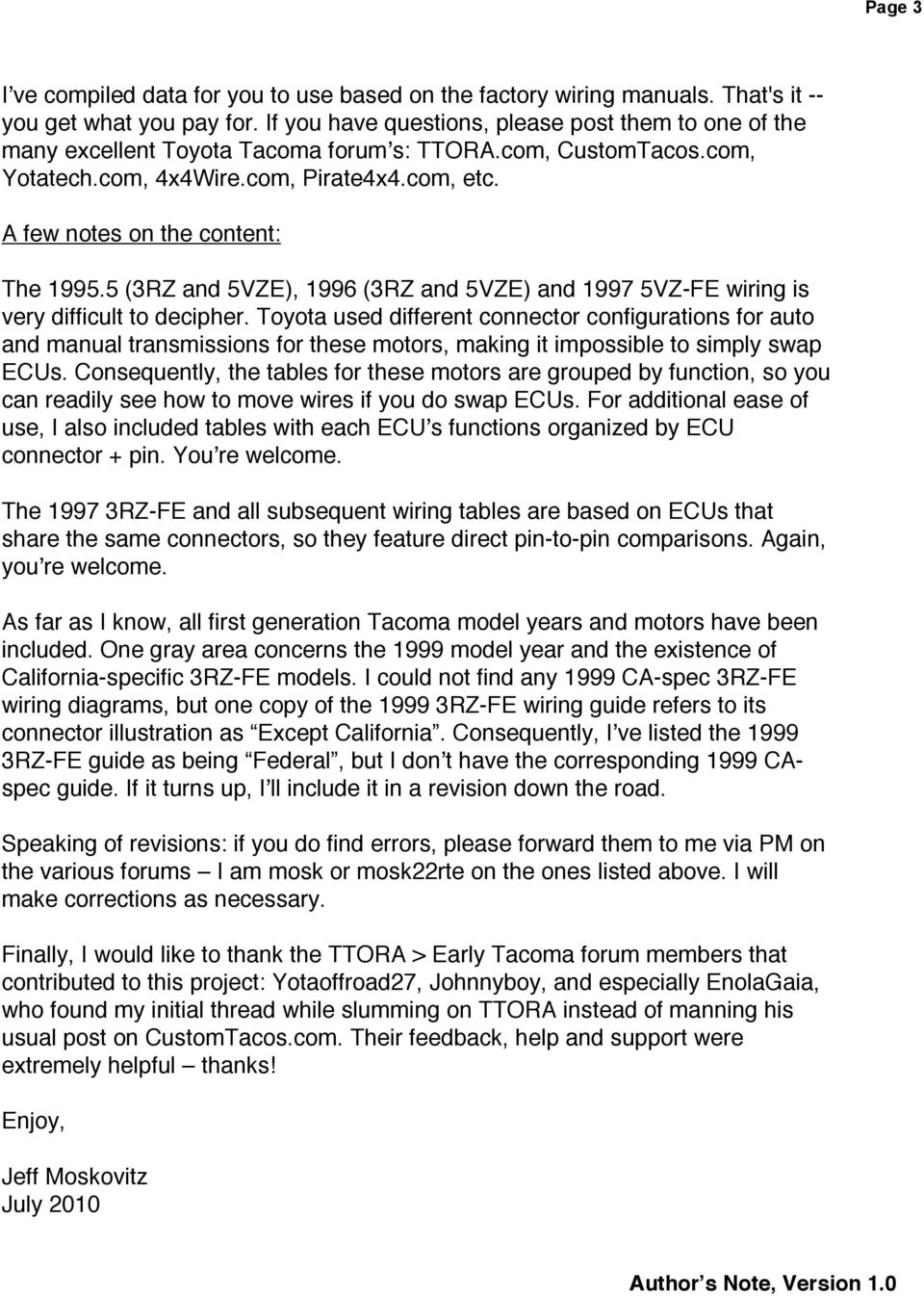 Ecu Pinout And Wiring Comparisons Toyota Tacoma Trucks Pdf 2004 Color Code A Few Notes On The Content 19955 3rz 5vze 1996