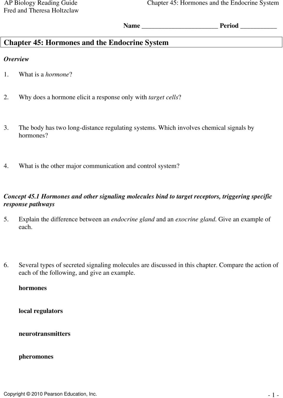 Chapter 45 Hormones And The Endocrine System Pdf