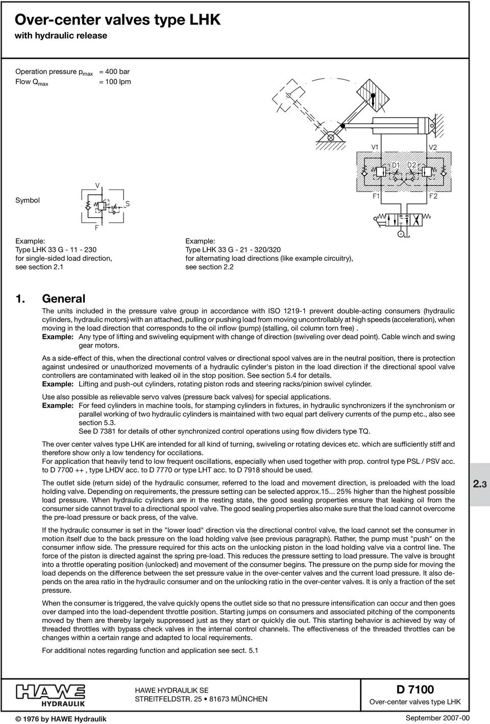 Over-center valves type LHK with hydraulic release - PDF on