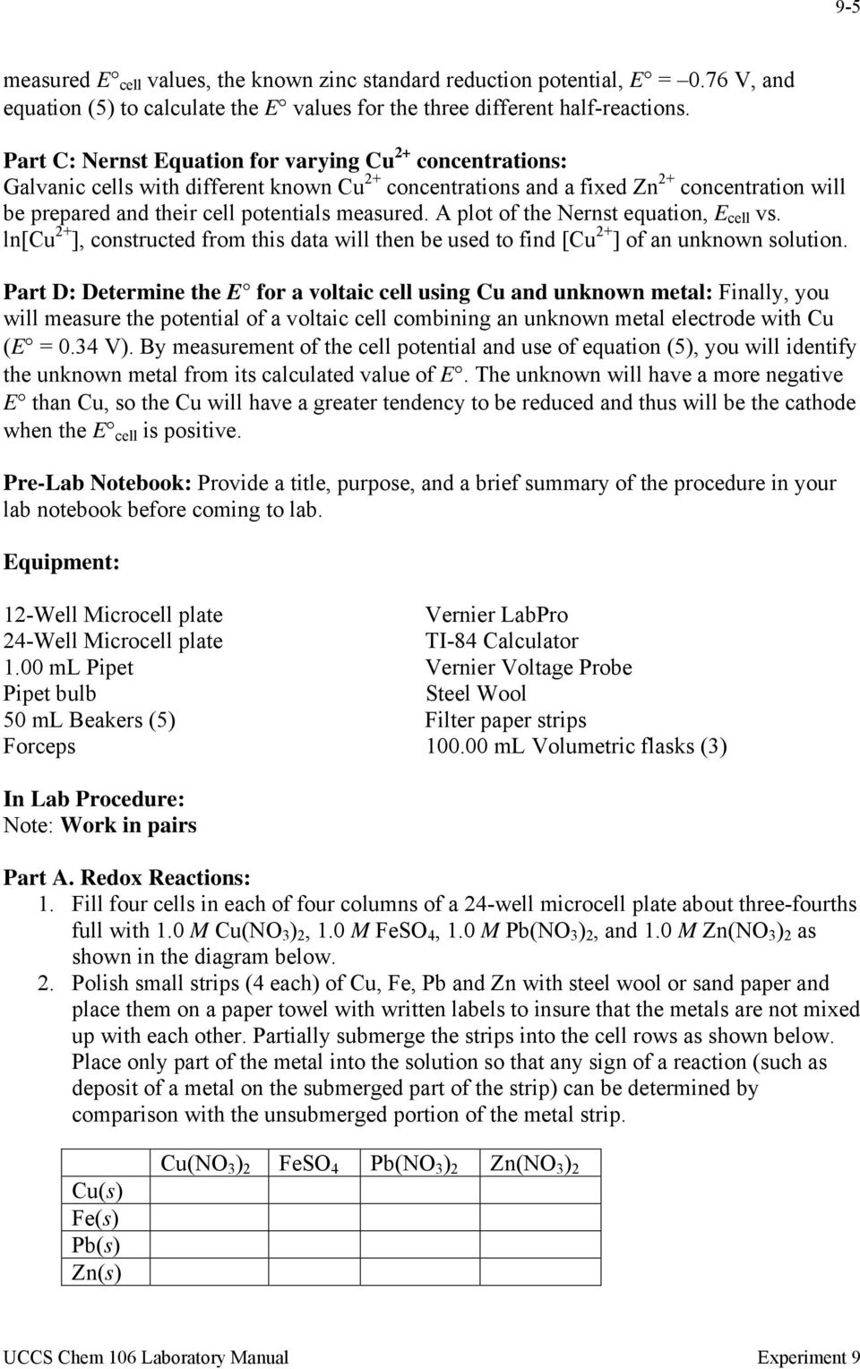 voltaic cell lab report