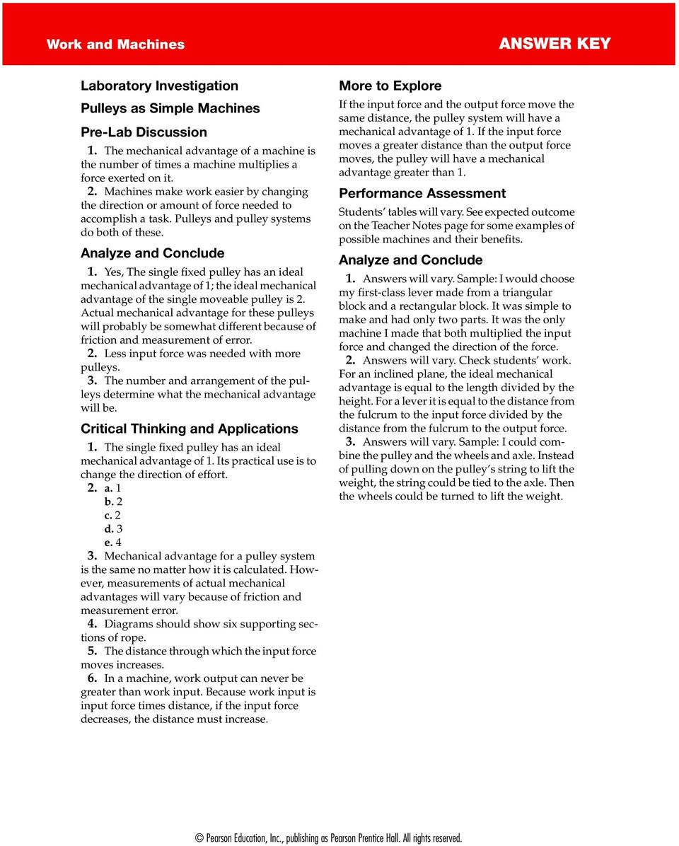 Answer Key Work And Machines Pdf