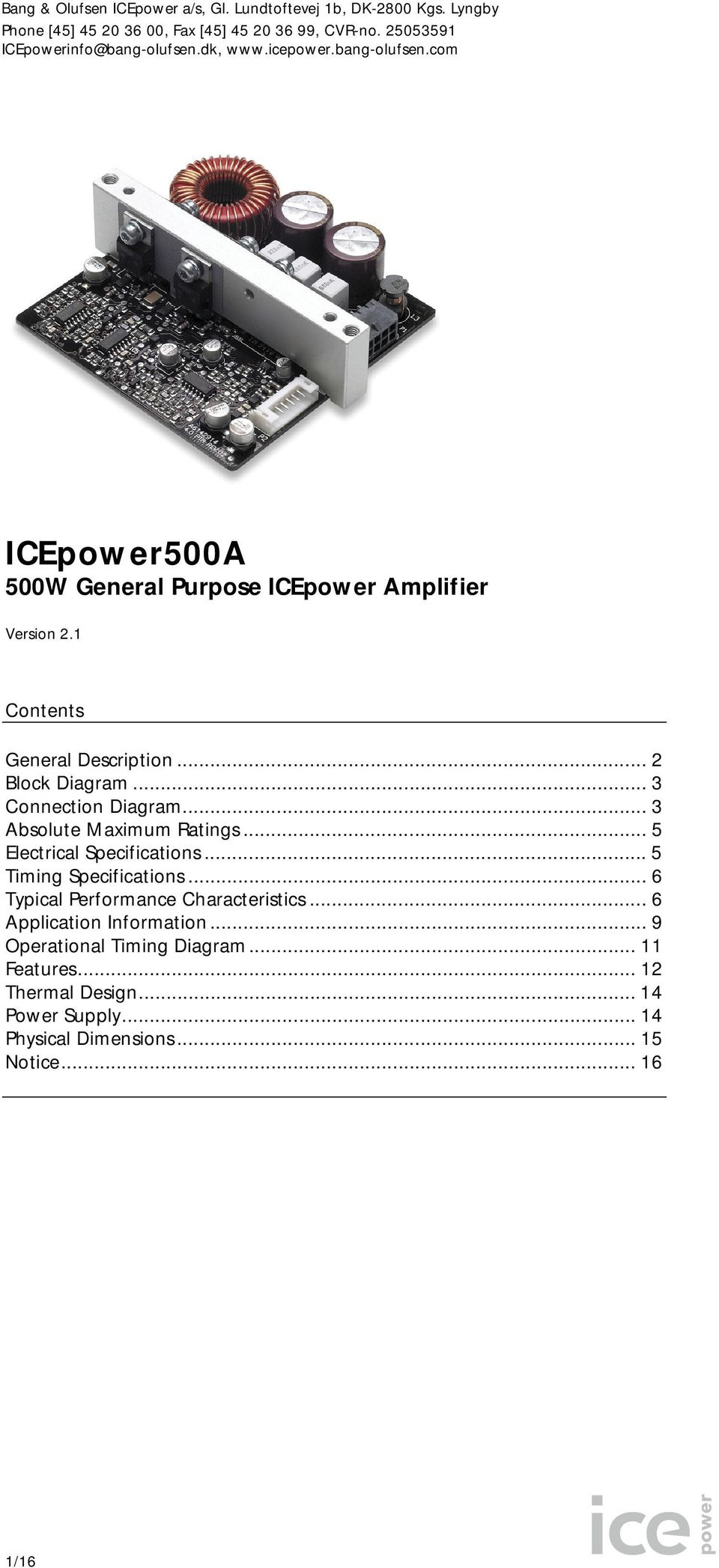 ICEpower500A 500W General Purpose ICEpower Amplifier - PDF