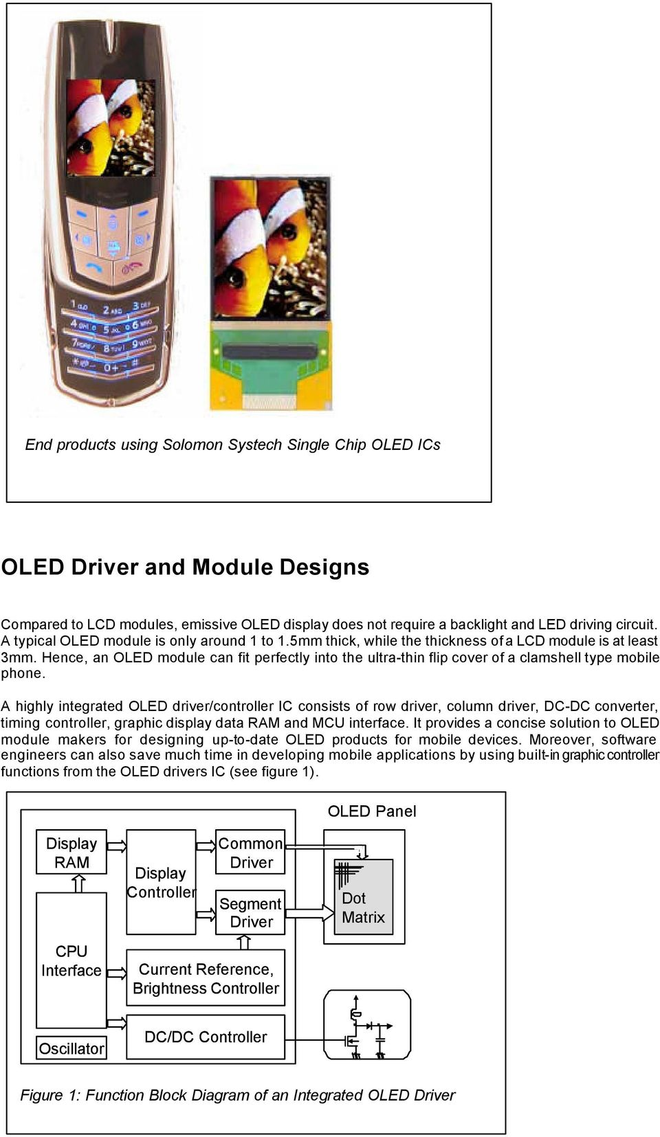 Oled Into Mobile Main Display Pdf Matrix Led Circuit Hence An Module Can Fit Perfectly The Ultra Thin Flip Cover Of