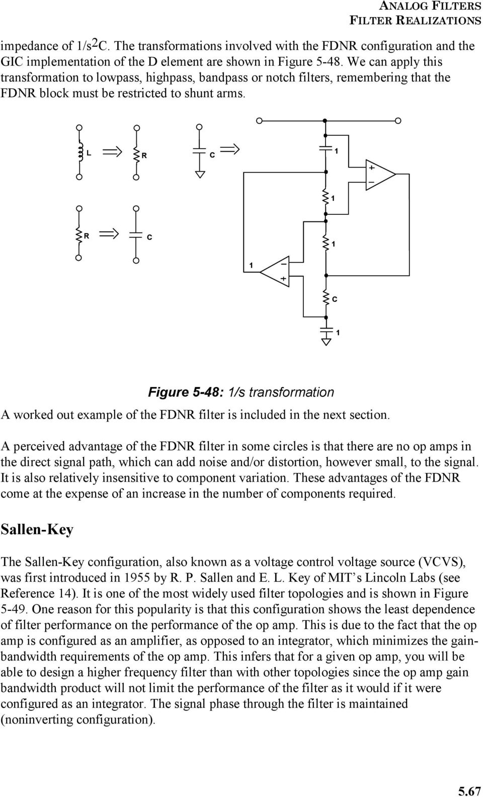 Section 5 Frequency Transformations Pdf Active Operational Amplifier Notch Filter Circuit The Is Quite L R C Figure 548 S Transformation A Worked Out Example Of Fdnr 18 Op Amp Applications