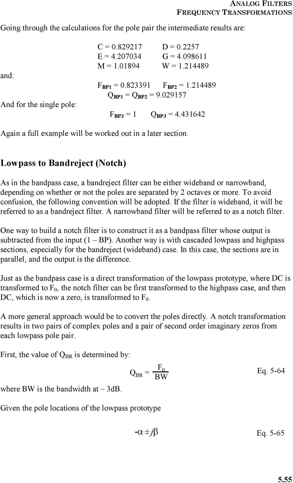 Section 5 Frequency Transformations Pdf Circuit Questions And Answers Bandreject Allpass Filters Lowpass To Notch As In The Bandpass Case A Filter Can