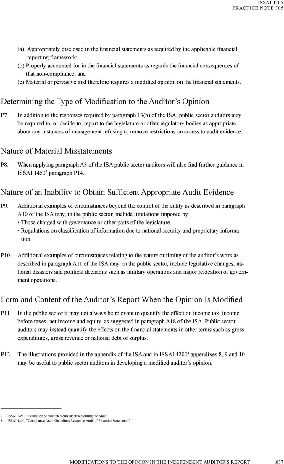 Determining the Type of Modification to the Auditor s Opinion P7.