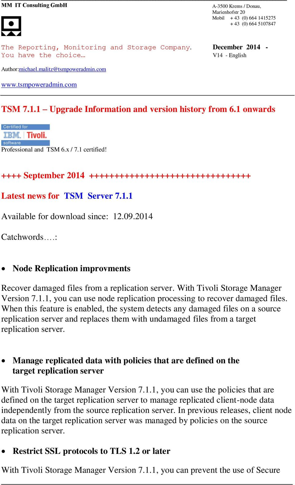 TSM Upgrade Information and version history from 6 1 onwards