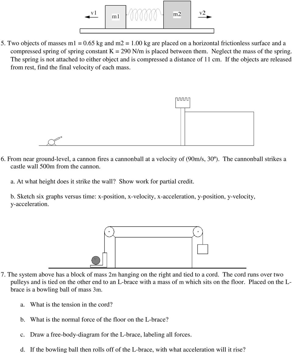 Ap Physics 1 Midterm Exam Review Pdf Draw Freebody Diagrams For Each Of The Two Blocks Andthepulley From Near Ground Level A Cannon Fires Cannonball At Velocity