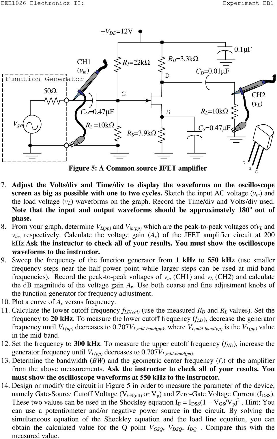 Example Ac Transistor Circuit Analysis Of The Mid Frequency Response Experiment Eb1 Fet Amplifier Pdf Sketch Put Voltage V And Load Waveforms