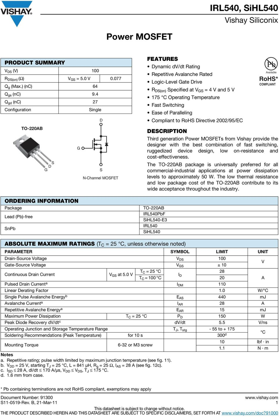 Power Mosfet Features Irl540pbf Sihl540 E3 Irl540 Sihl540 Pdf