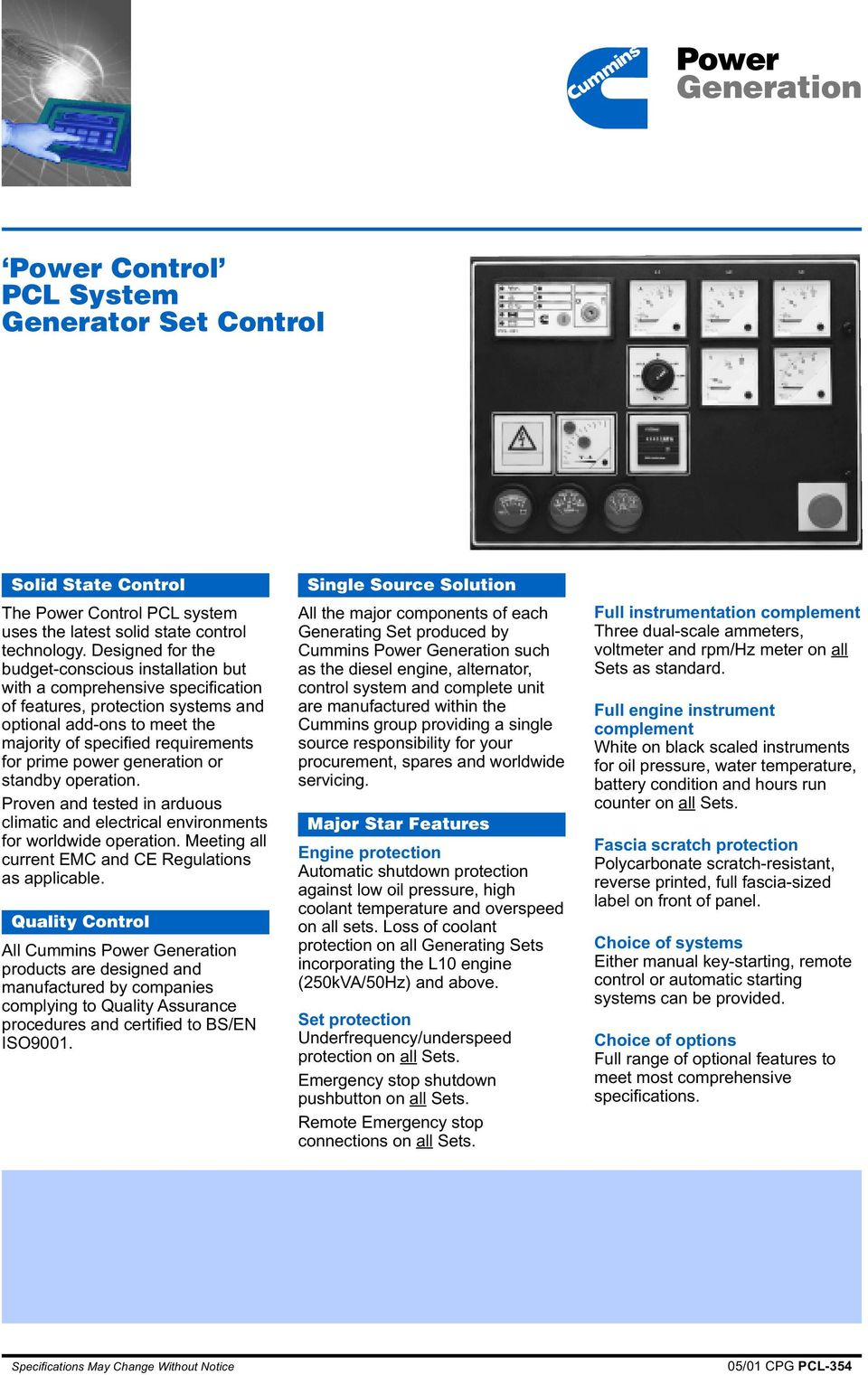 Power Generation Control Pcl System Generator Set Pdf Stamford Wiring Diagram 125 Mp Or Standby Operation Proven And Tested In Arduous Climatic Electrical Environments For