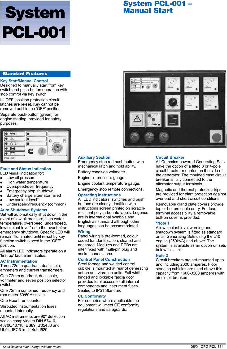 Power Generation Control Pcl System Generator Set Pdf Circuitbreaker S Type Hgi Can Be Used As Fault And Status Indication Led Visual For Low Oil Pressure High Water Temperature Overspeed