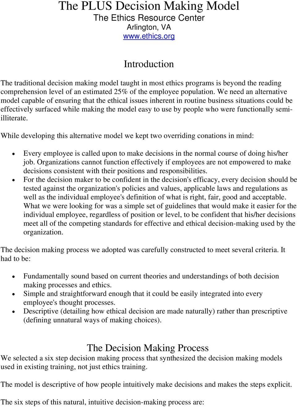 The PLUS Decision Making Model The Ethics Resource Center