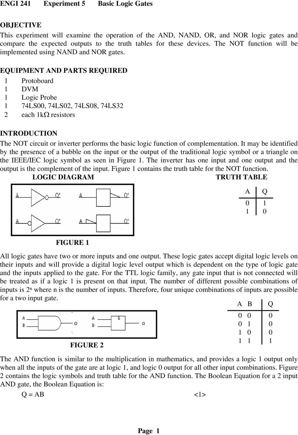 Engi 241 Experiment 5 Basic Logic Gates Pdf Circuit Diagram Complementary Ttl Inverter Euipment And Parts Reuired Protoboard Dvm Probe 74ls 74ls2 74ls8 74ls32 2