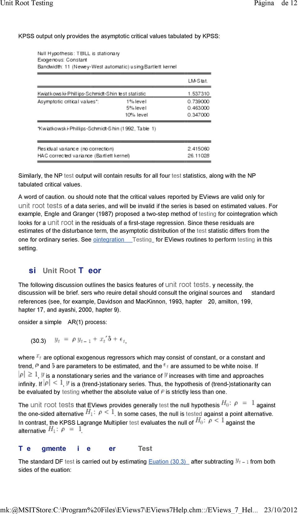 Performing Unit Root Tests in EViews  Unit Root Testing - PDF