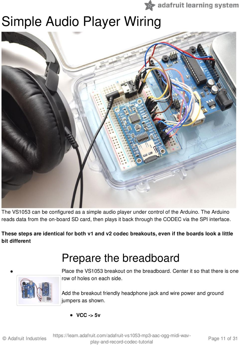 Adafruit Vs1053 Mp3 Aac Ogg Midi Wav Codec Breakout Tutorial Pdf Wiring Power Switch These Steps Are Identical For Both V1 And V2 Breakouts Even If The Boards
