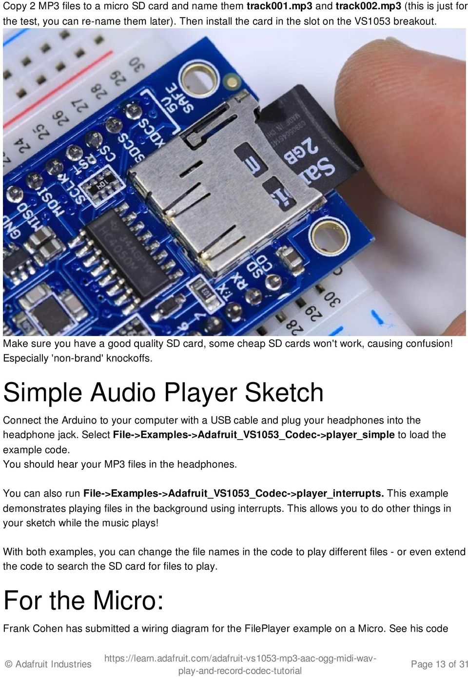 Adafruit Vs1053 Mp3 Aac Ogg Midi Wav Codec Breakout Tutorial Pdf Wiring Plug Simple Audio Player Sketch Connect The Arduino To Your Computer With A Usb Cable And