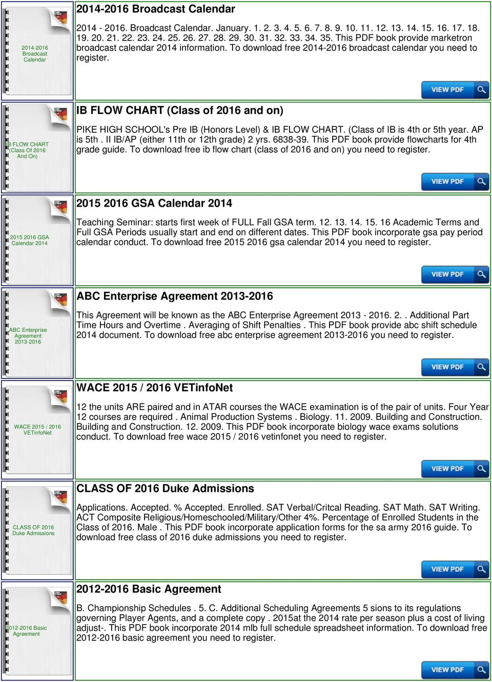 To download free 2014- broadcast calendar you need to IB FLOW CHART (Class  of