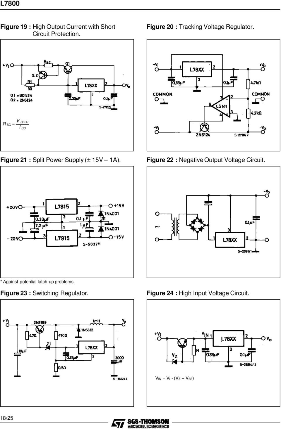 L7800 Series Positive Voltage Regulators Pdf Negative Power Supply Circuit R Sc V Beq2 I Figure 21 Split 15v