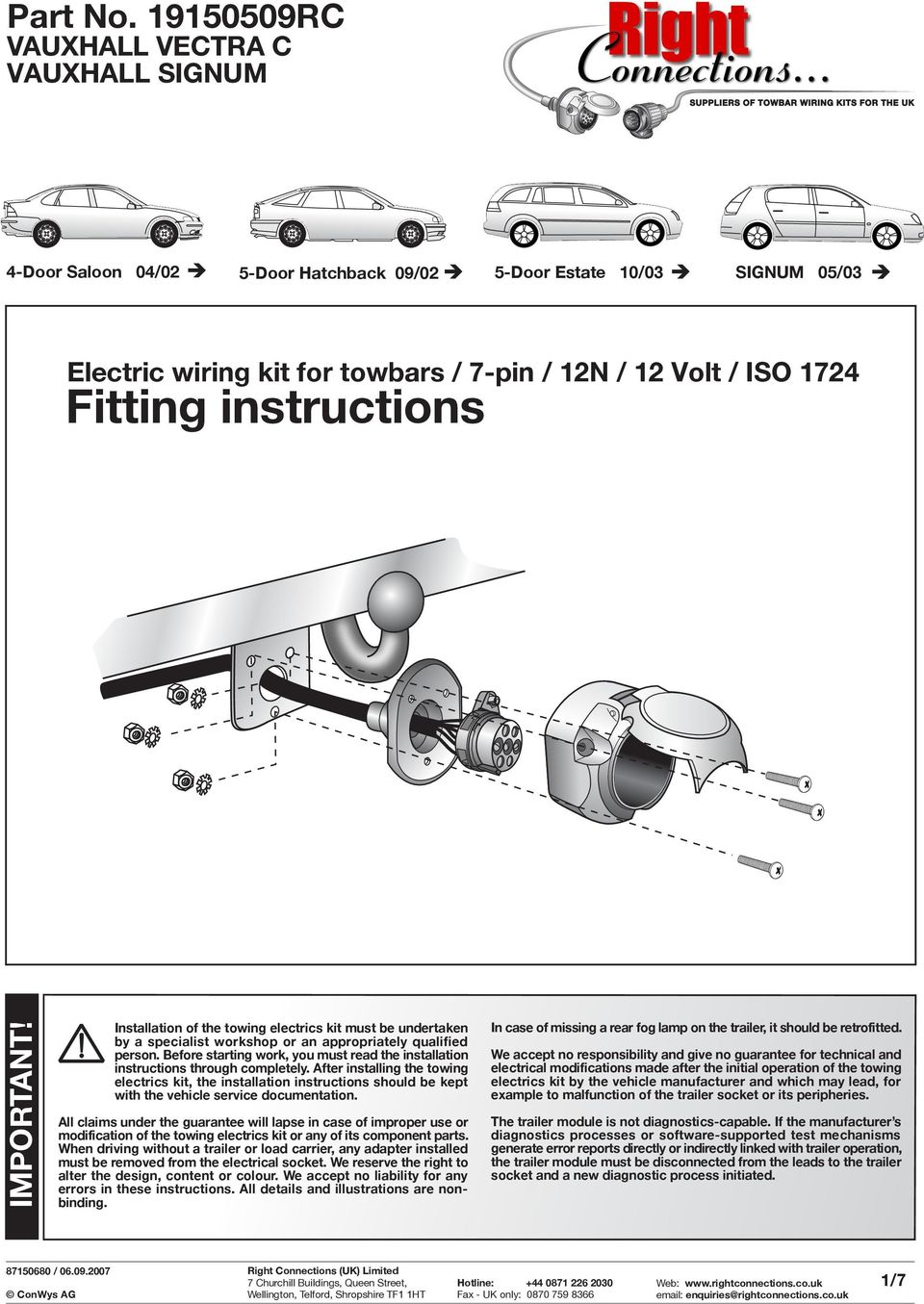 page_1 fitting instructions part no rc important! vauxhall vectra c