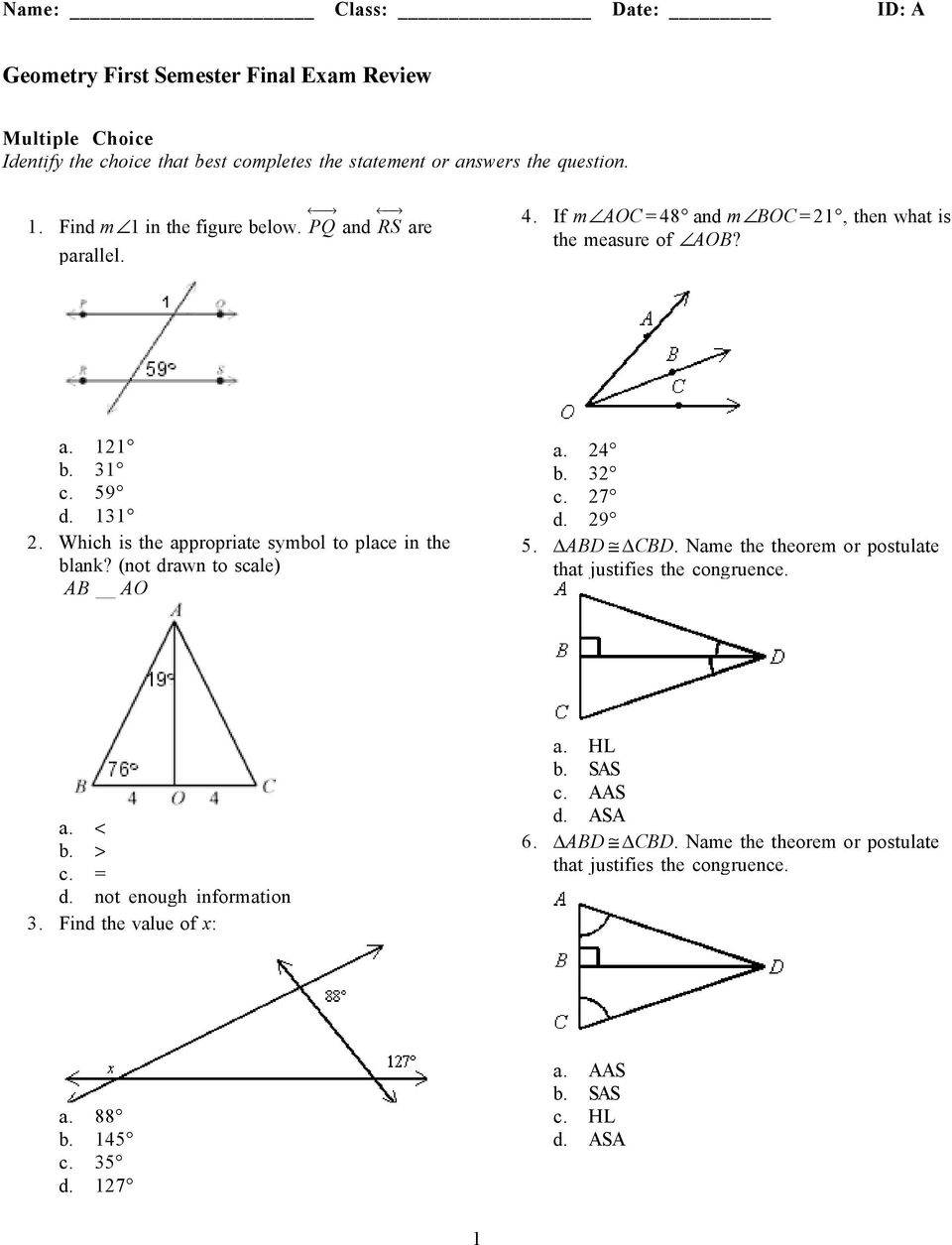 Geometry First Semester Final Exam Review - PDF