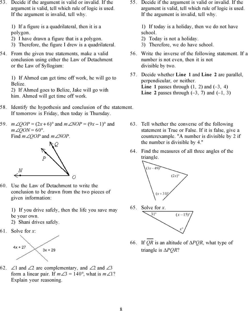 Geometry First Semester Final Exam Review Pdf