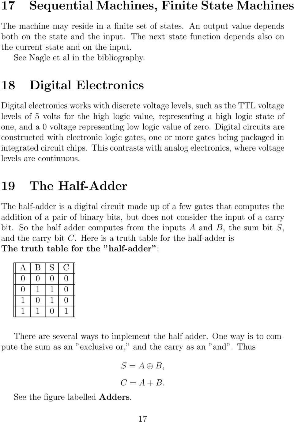Logic Boolean Algebra And Digital Circuits Pdf Bit Binary Full Adder Gate Analog Ic Design 18 Electronics Works With Discrete Voltage Levels Such As The Ttl