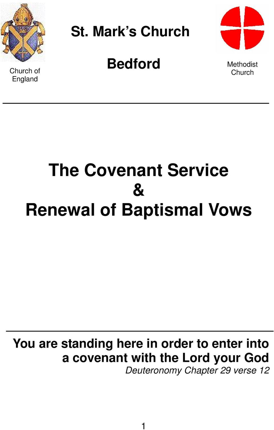 Service & Renewal of Baptismal Vows You are standing