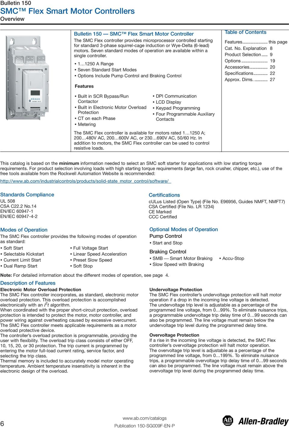 1 1250 A Range Seven Standard Start Modes Options Include Pump Control and Braking Control Features Table of Contents Features... this page Explanation 8 Product Selection... 9 Options.