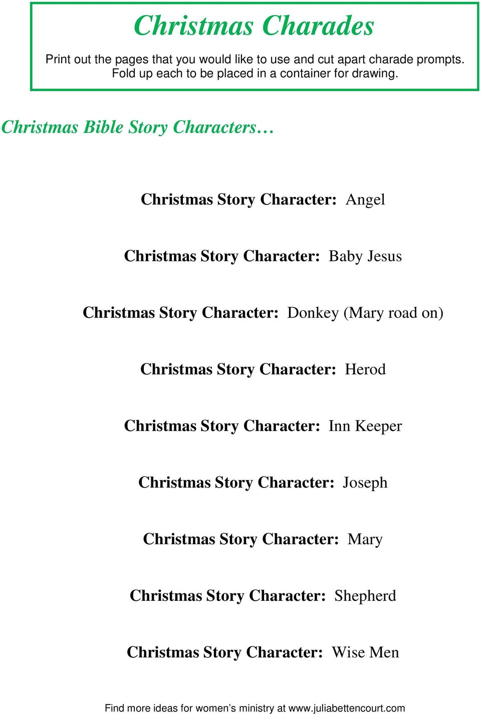 Christmas Story From The Bible.Christmas Charades Christmas Story Character Angel