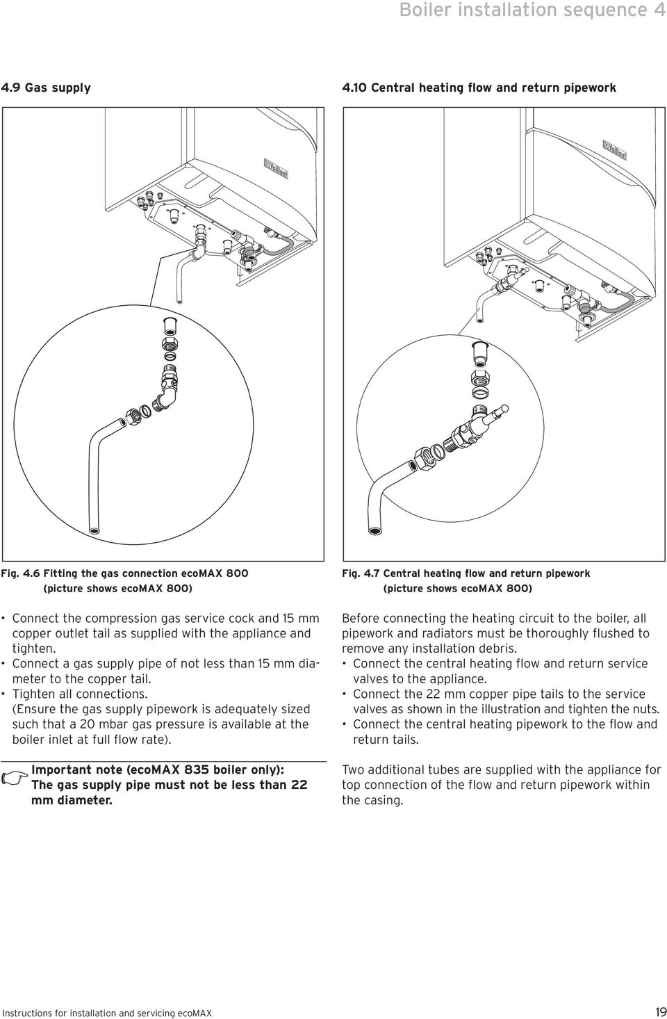 Instructions For Installation And Servicing Ecomax Pdf Quantec Wiring Connect A Gas Supply Pipe Of Not Less Than 5 Mm Diameter To The Copper Tail