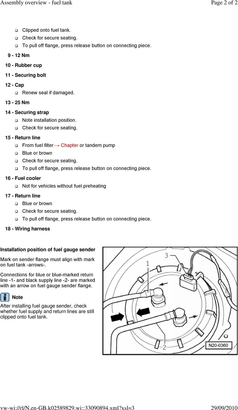 Assembly Overview Fuel Tank Pdf Volvo V70 Filter Lines 15 Return Line From Chapter Or Tandem Pump Blue Brown To Pull