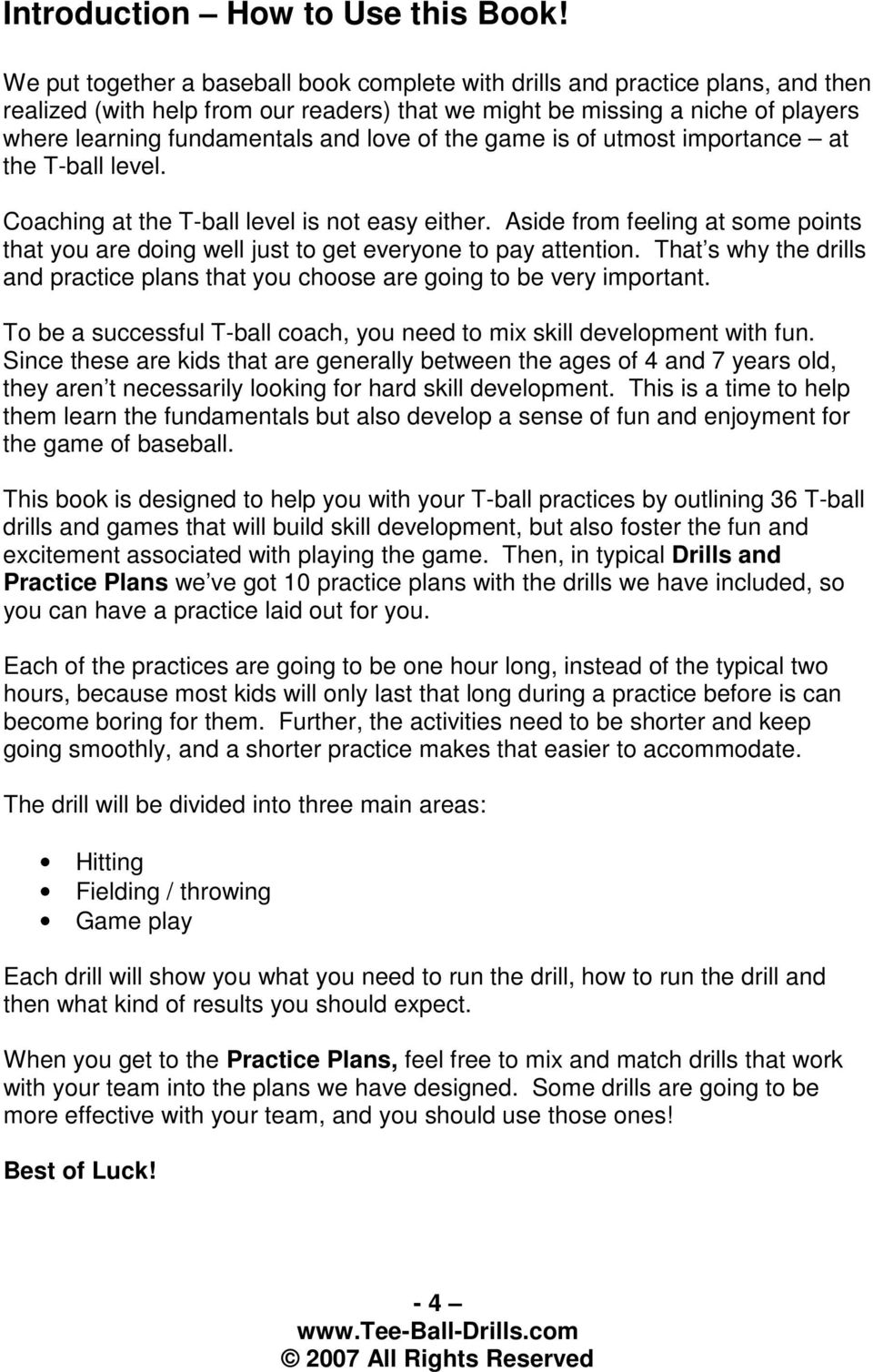 T Ball Drills And Practice Plans Pdf Free Download