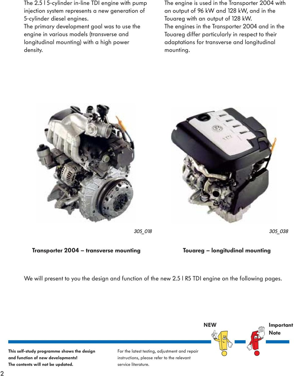 The engine is used in the Transporter 2004 with an output of 96 kw and 128