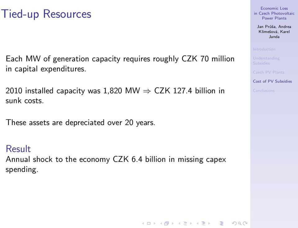 2010 installed capacity was 1,820 MW CZK 127.4 billion in sunk costs.