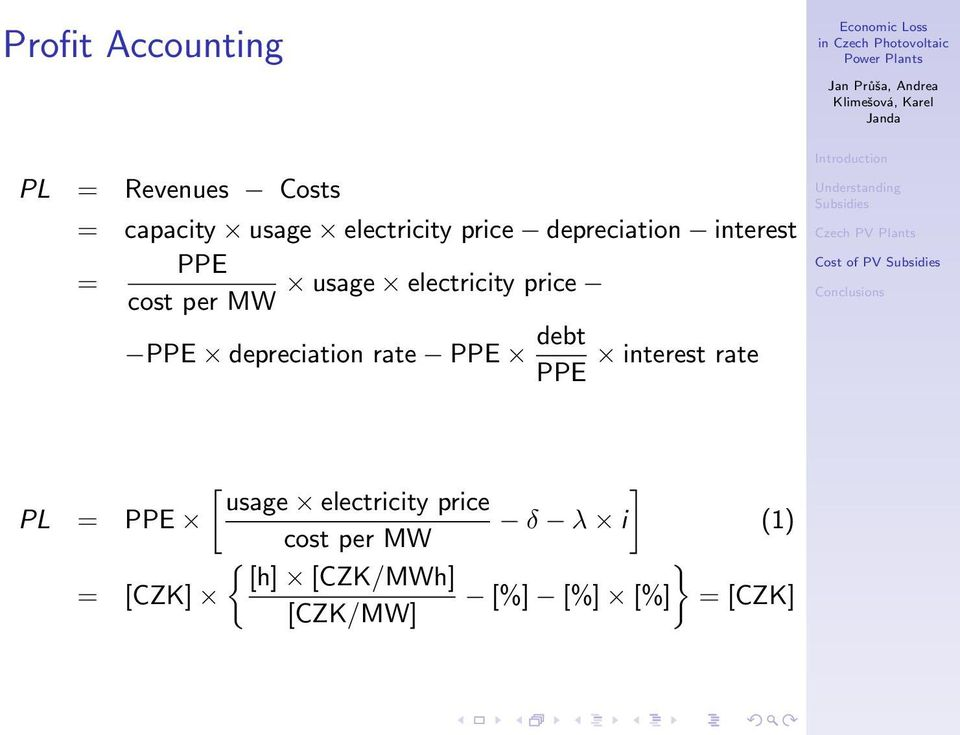 depreciation rate PPE debt interest rate PPE [ ] usage electricity price