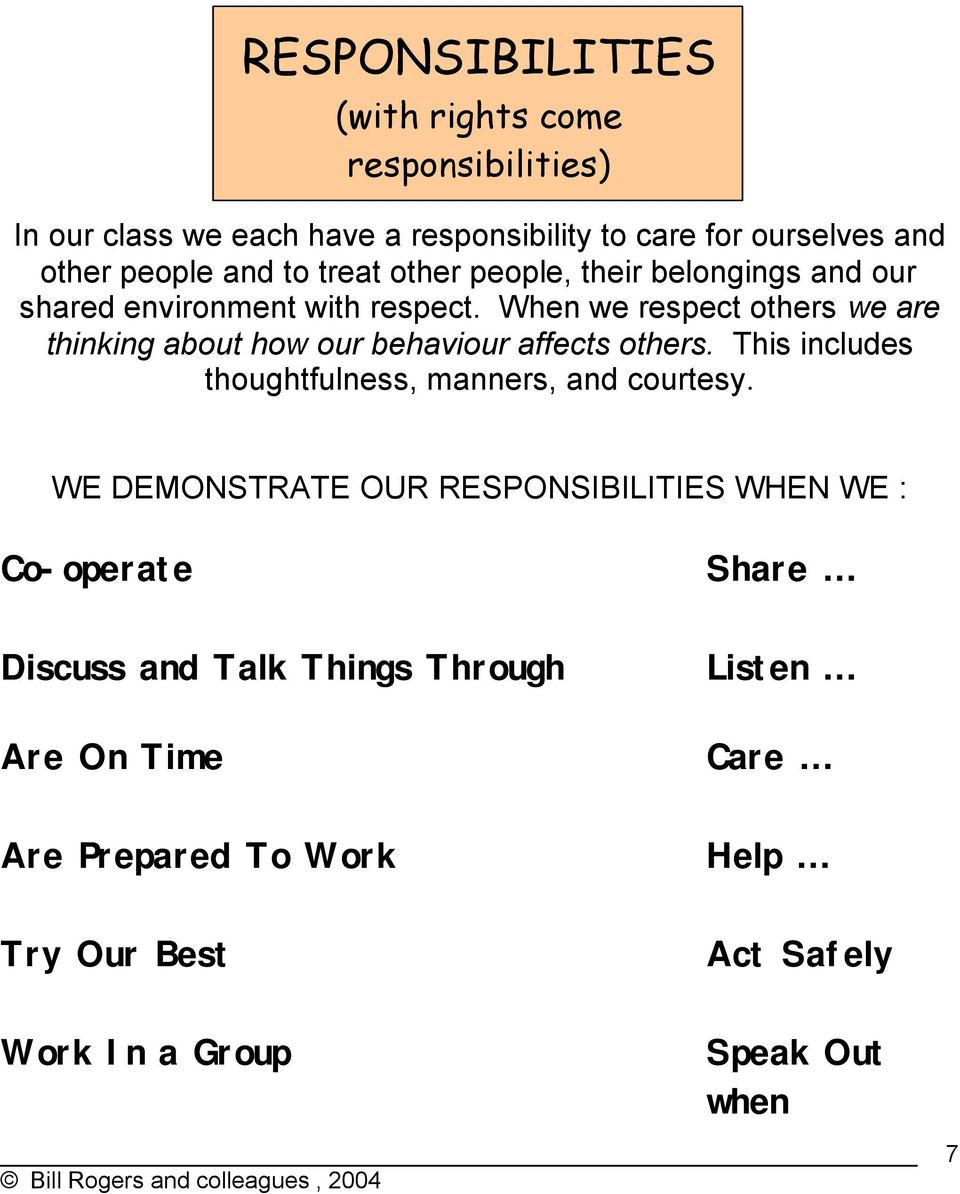 When we respect others we are thinking about how our behaviour affects others. This includes thoughtfulness, manners, and courtesy.