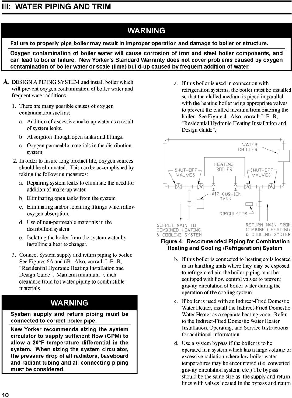 Installation Operating And Service Instructions Ap U Series Steel New Yorker Boiler Wiring Diagram S Standard Warranty Does Not Cover Problems Caused By Oxygen Contamination Of Water