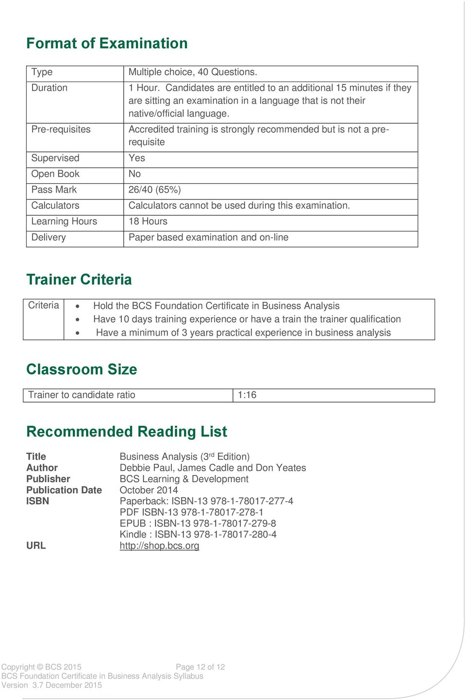 Bcs Foundation Certificate In Business Analysis Syllabus