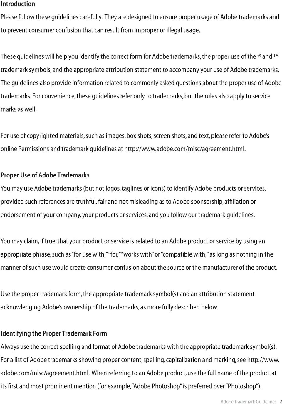 Adobe Trademark Guidelines For Third Parties Who License Use Or