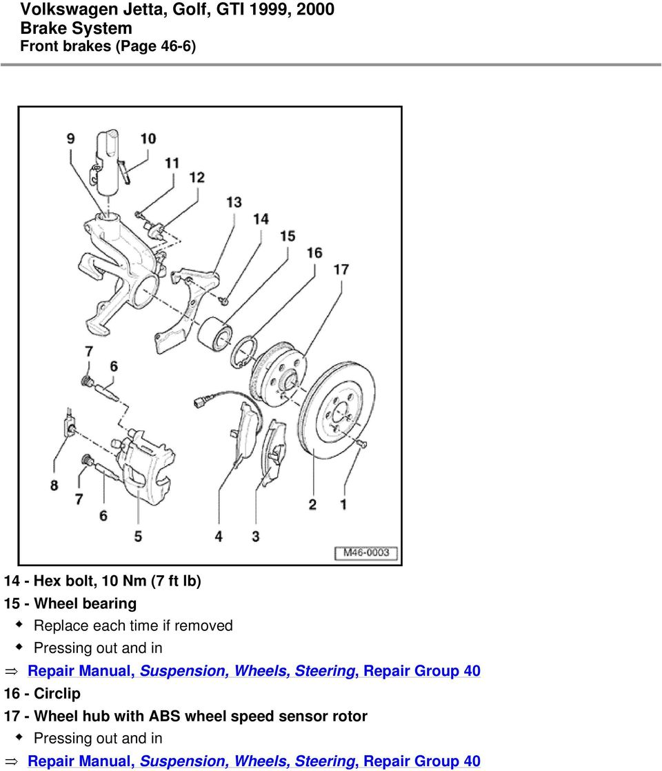 Wheels, Steering, Repair Group 40 16 - Circlip 17 - Wheel hub with ABS wheel