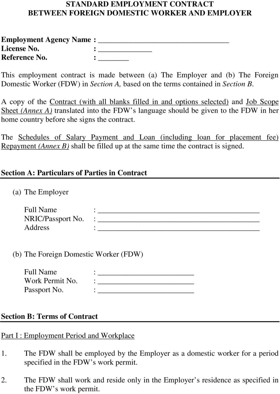 Standard Employment Contract Between Foreign Domestic Worker And Employer Employment Agency Name License No Reference No Pdf Free Download