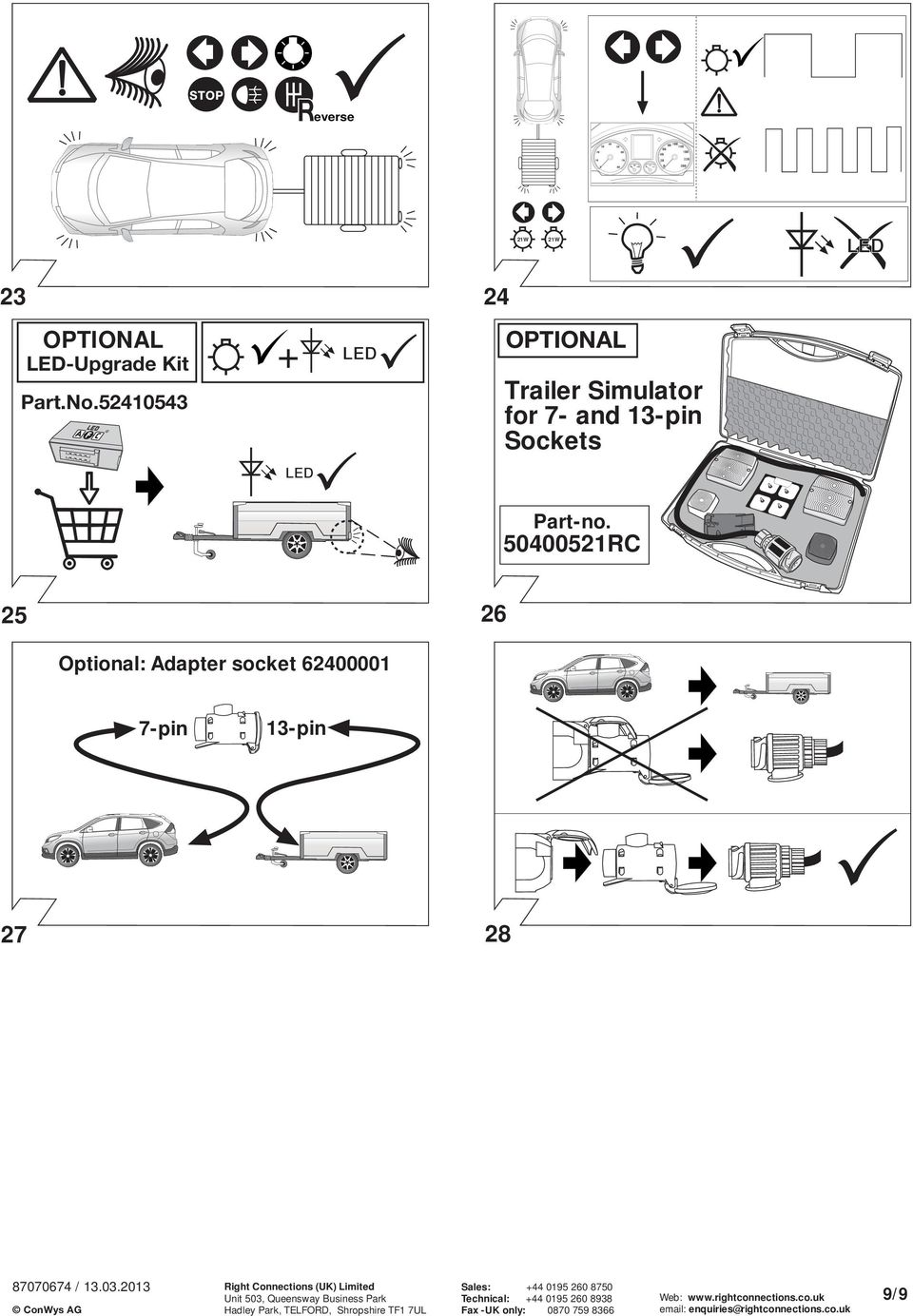SUPPLIERS OF TOWBAR WIRING KITS FOR THE UK. ConWys AG - PDF ... on suspension diagram, headlight adjustment diagram, fog lights diagram,