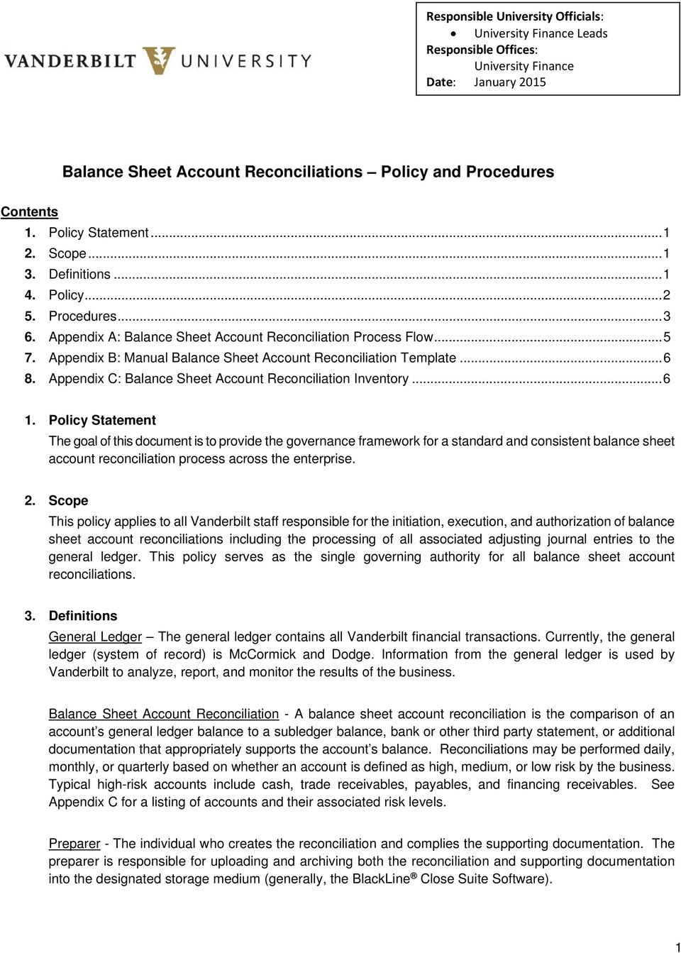 balance sheet account reconciliations policy and procedures pdf