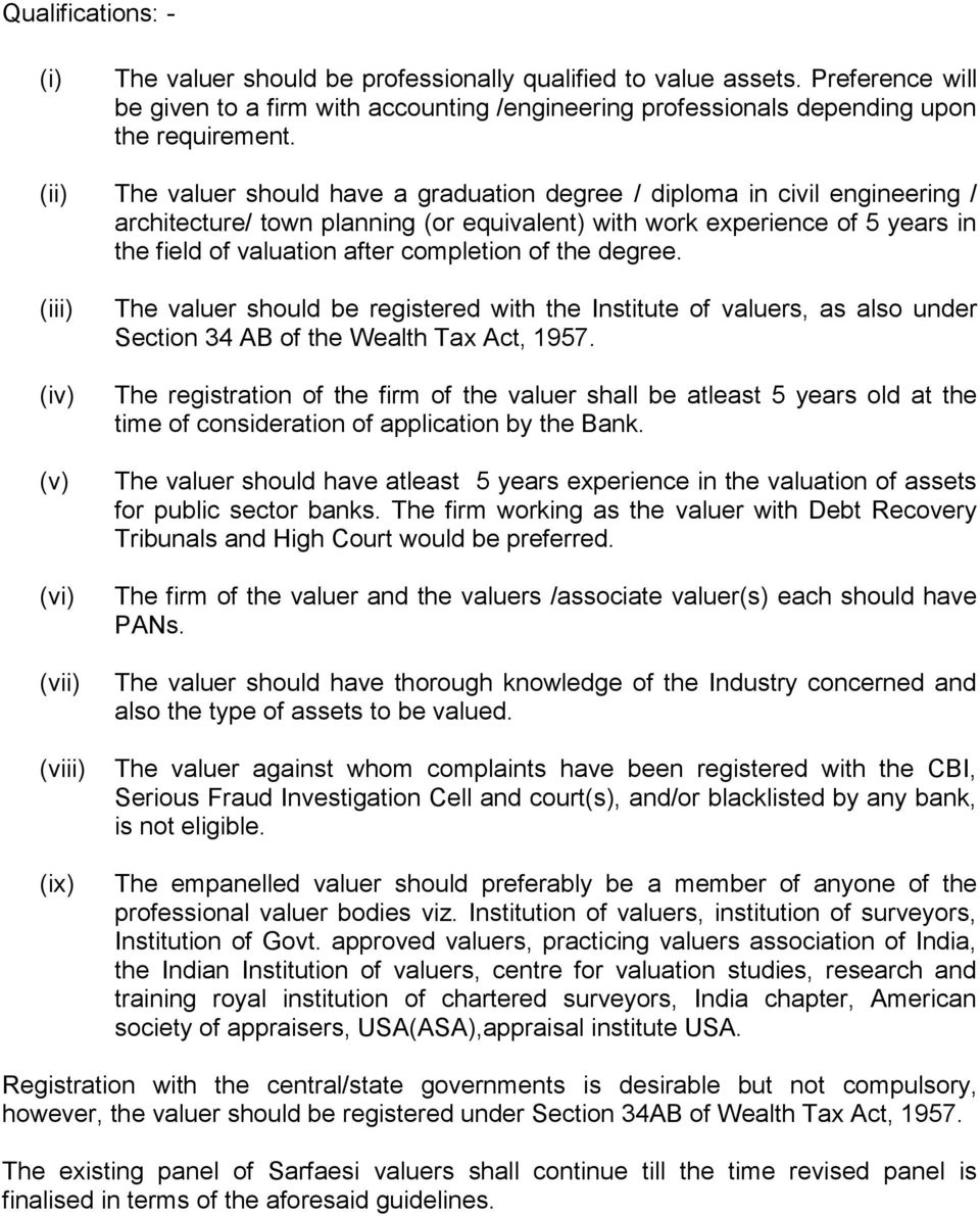 of the degree. (iii) (iv) (v) (vi) (vii) (viii) (ix) The valuer should be registered with the Institute of valuers, as also under Section 34 AB of the Wealth Tax Act, 1957.