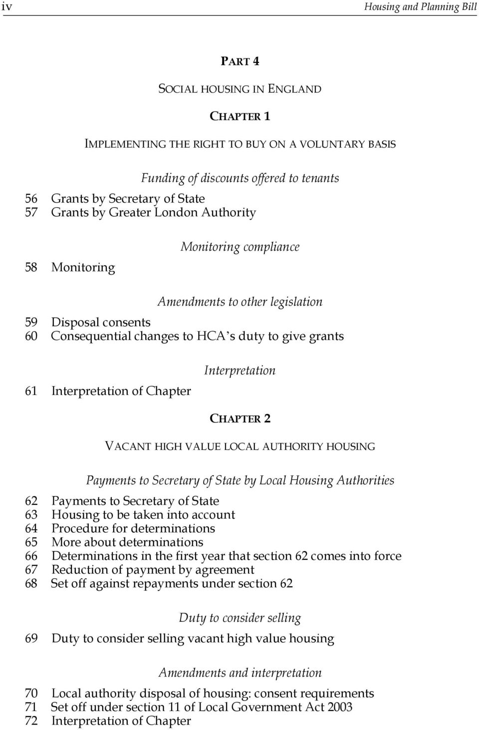 Chapter Interpretation CHAPTER 2 VACANT HIGH VALUE LOCAL AUTHORITY HOUSING Payments to Secretary of State by Local Housing Authorities 62 Payments to Secretary of State 63 Housing to be taken into