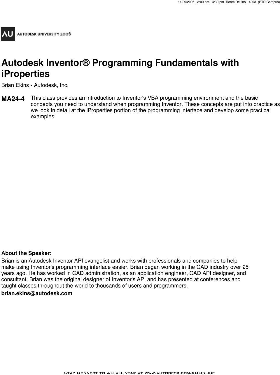 Autodesk Inventor Programming Fundamentals with iproperties - PDF